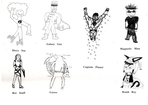 Superheroes - student drawings 1