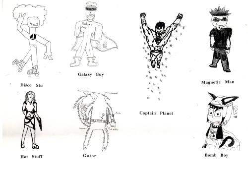Superheroes - student drawings 1